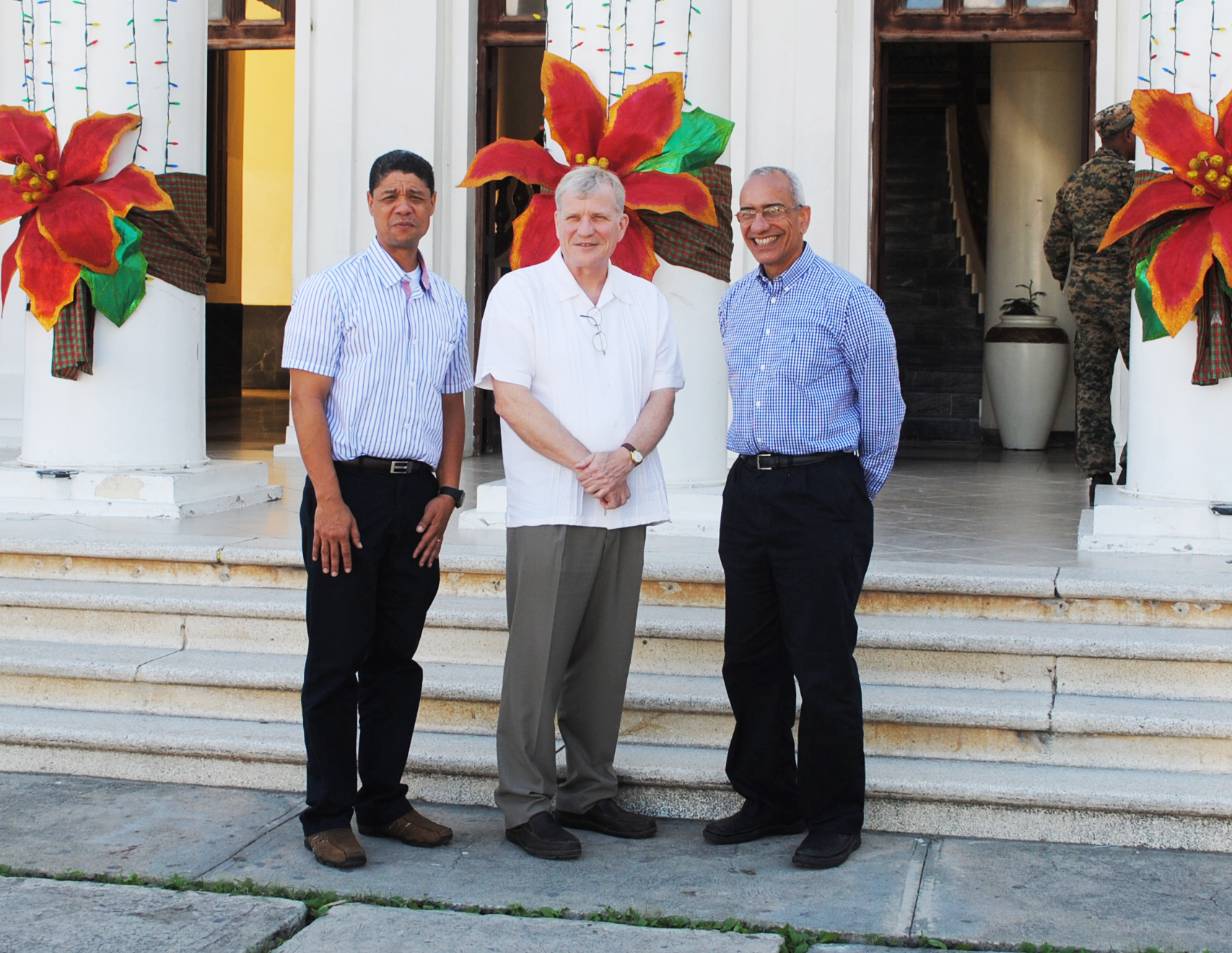 Felix Mercedes (GQC Country Manager), Canadian Ambassador Georges Boisse & Julio Espaillat (GQC President & CEO) at San Juan De La Maguana City Hall
