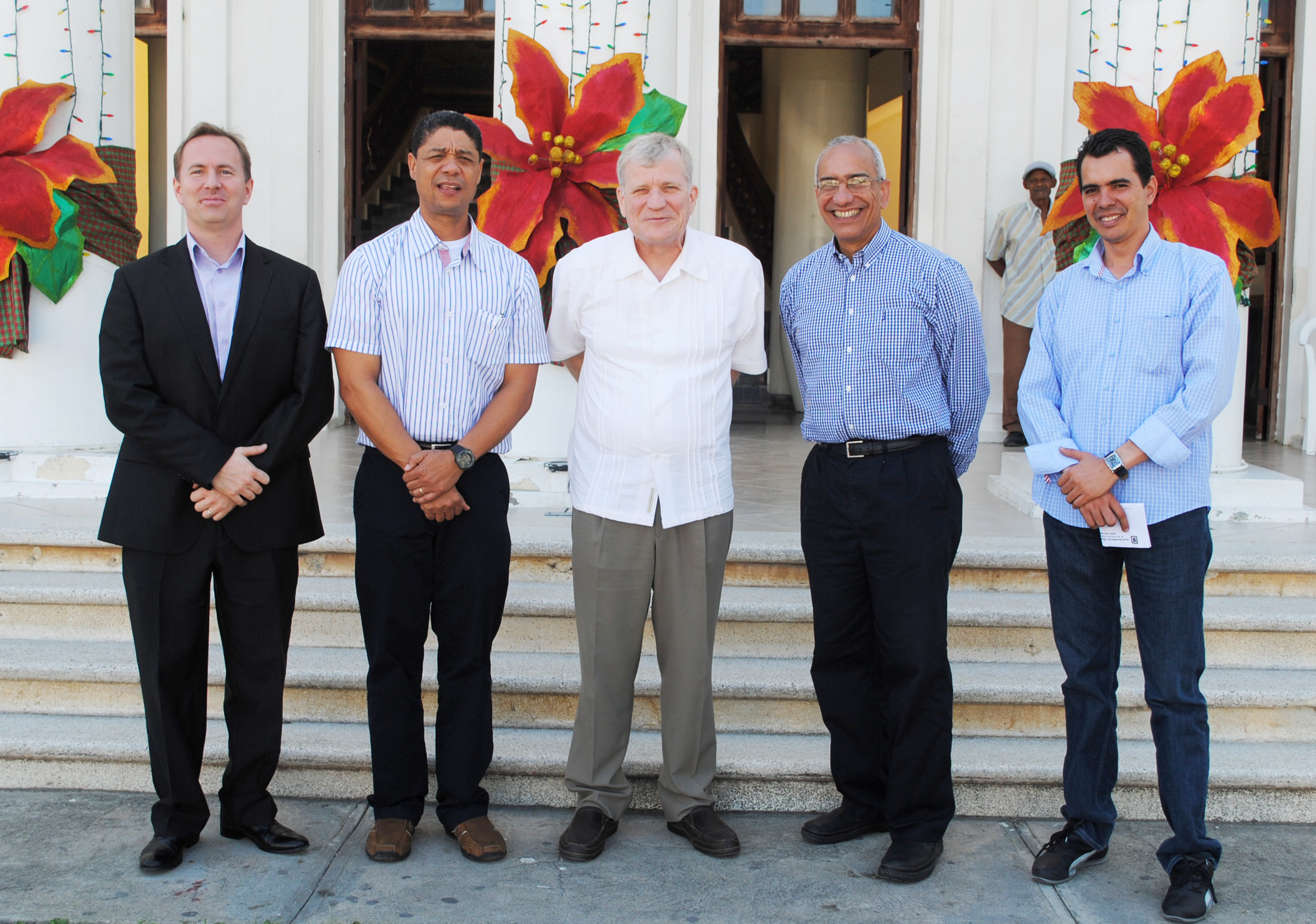 Canadian Representatives in the DR, Counsellor Aladin Legault & Ambassador Georges Boisse with GQC Representative Felix Mercedes, Julio Espaillat & Eduardo Ramirez at San Juan De La Maguana City Hall during their visit to the Project